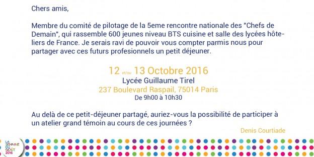 Invitation Chefs de Demain - Denis Courtiade