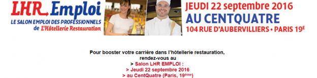 Salon lhr emploi jeudi 22 septembre 2016 au centquatre for Salon emploi hotellerie restauration
