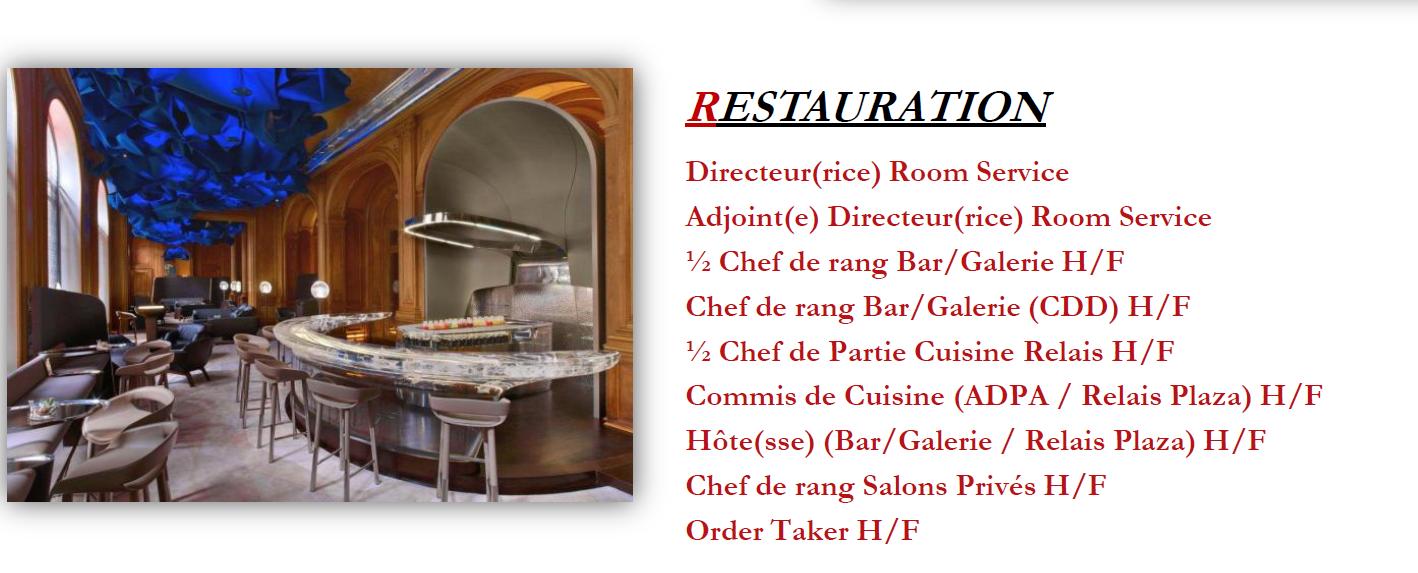 Tr s nombreuses offres d emploi h tel plaza ath n e for Offre emploi chef de cuisine