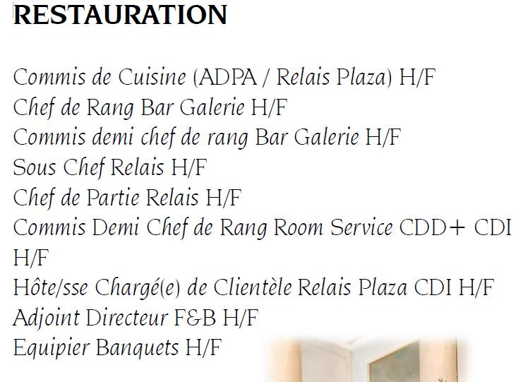 Nombreuses offres d emploi en restauration h tel plaza for Emploi en restauration
