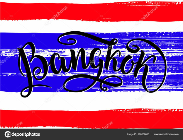 Bangkok lettering icon, Thailand. City logo isolated on raw thai natinal flag. Vintage badge calligraphy in grunge style. Great for t-shirts or poster. Vector illustration.